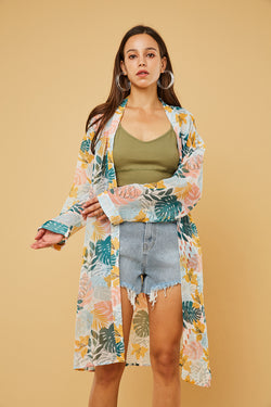 Printed Chiffon Cover-Up Tunic