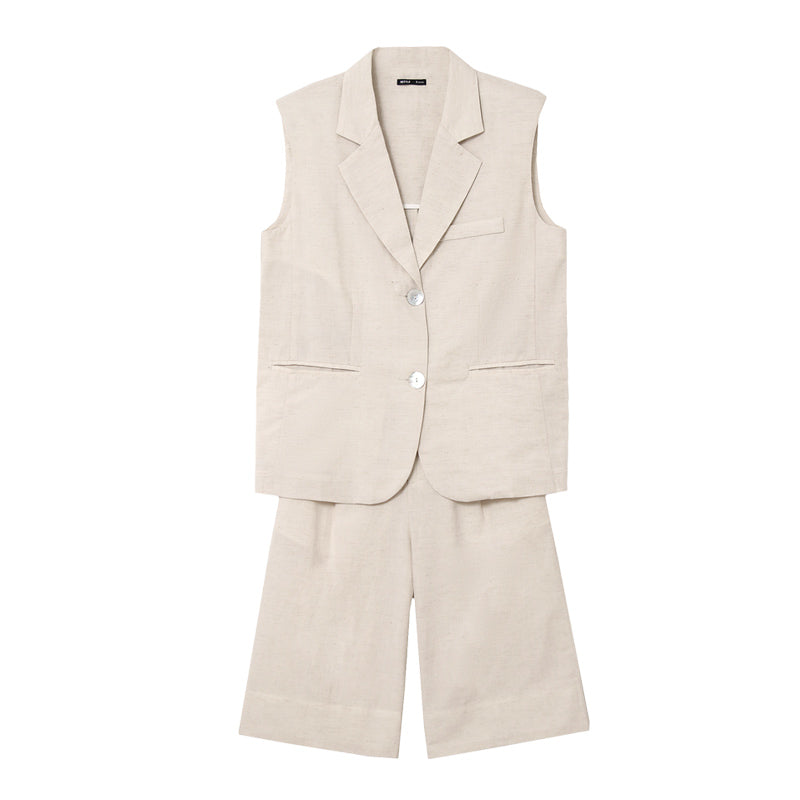 Notch-Collar Vest & Shorts Two-Piece Set