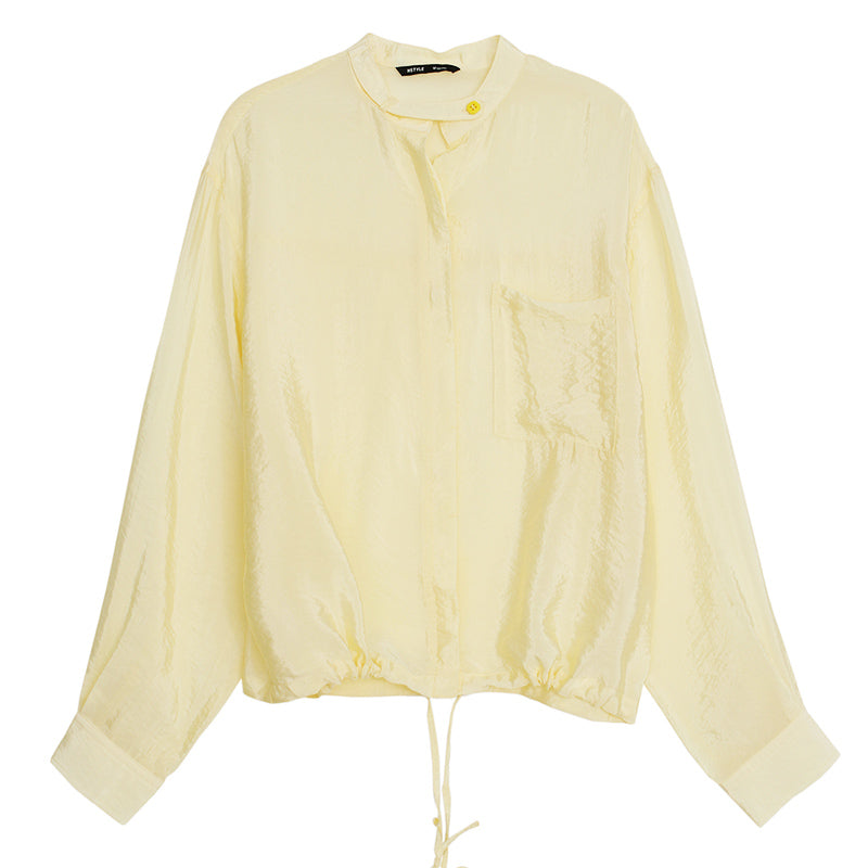 Silk Textured Button Front Blouse