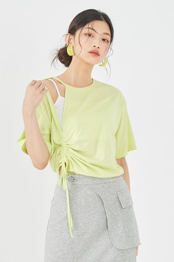 Slit Shoulder Side Ruched Tee