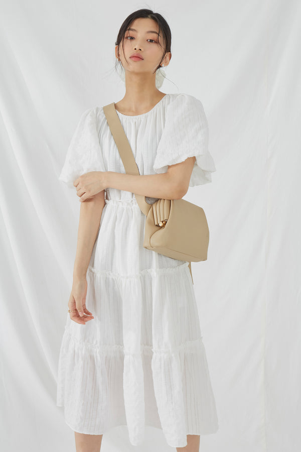 Puff-sleeve Midi Tiered Dress
