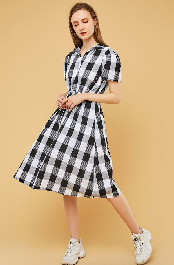 Gingham Plaid Drawstring-Waist Hooded Dress