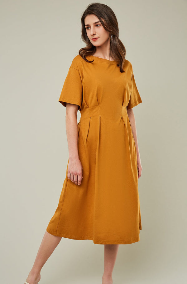Pleated Waist Cut-Out Back Midi Dress
