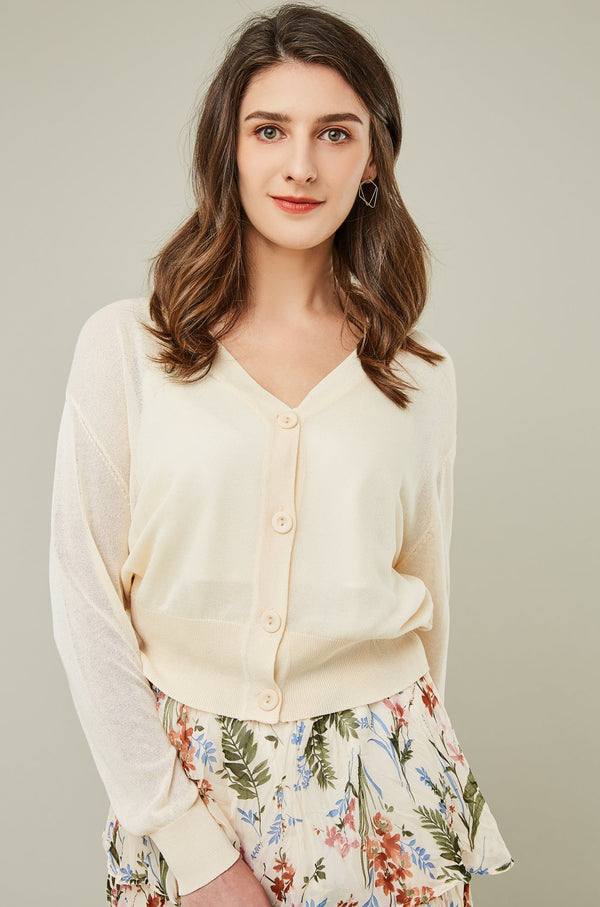 Button-Front V-Neck Cardigan