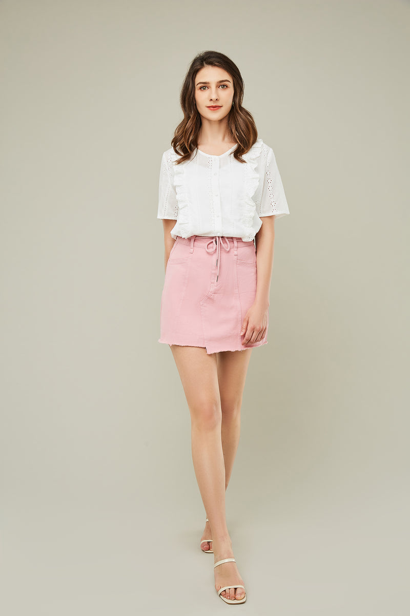 Short-Sleeve Ruffle Eyelet Top