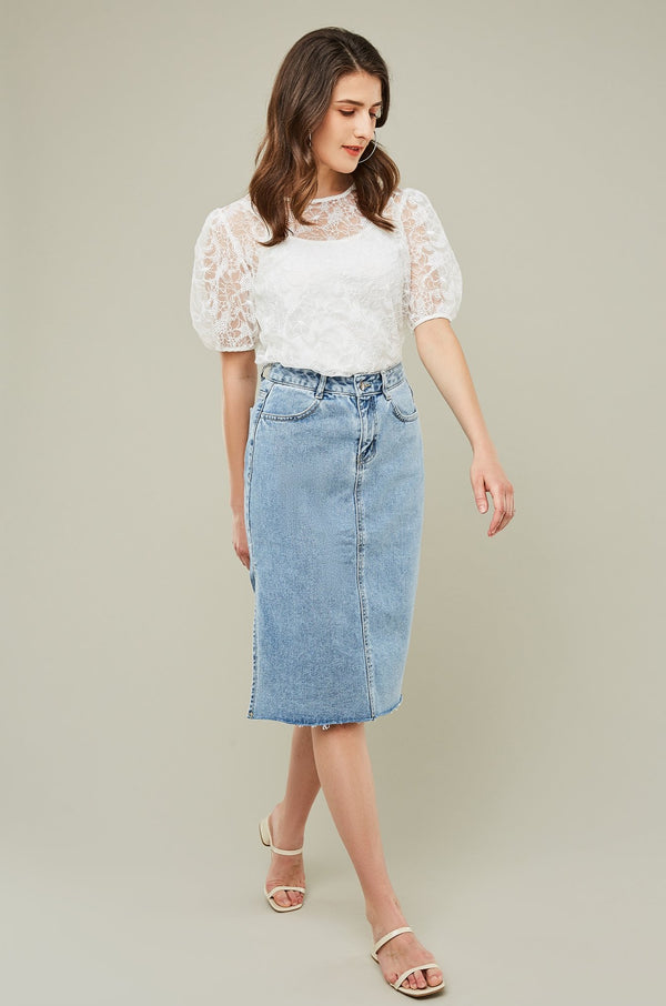 Side Slit Midi Denim Skirt