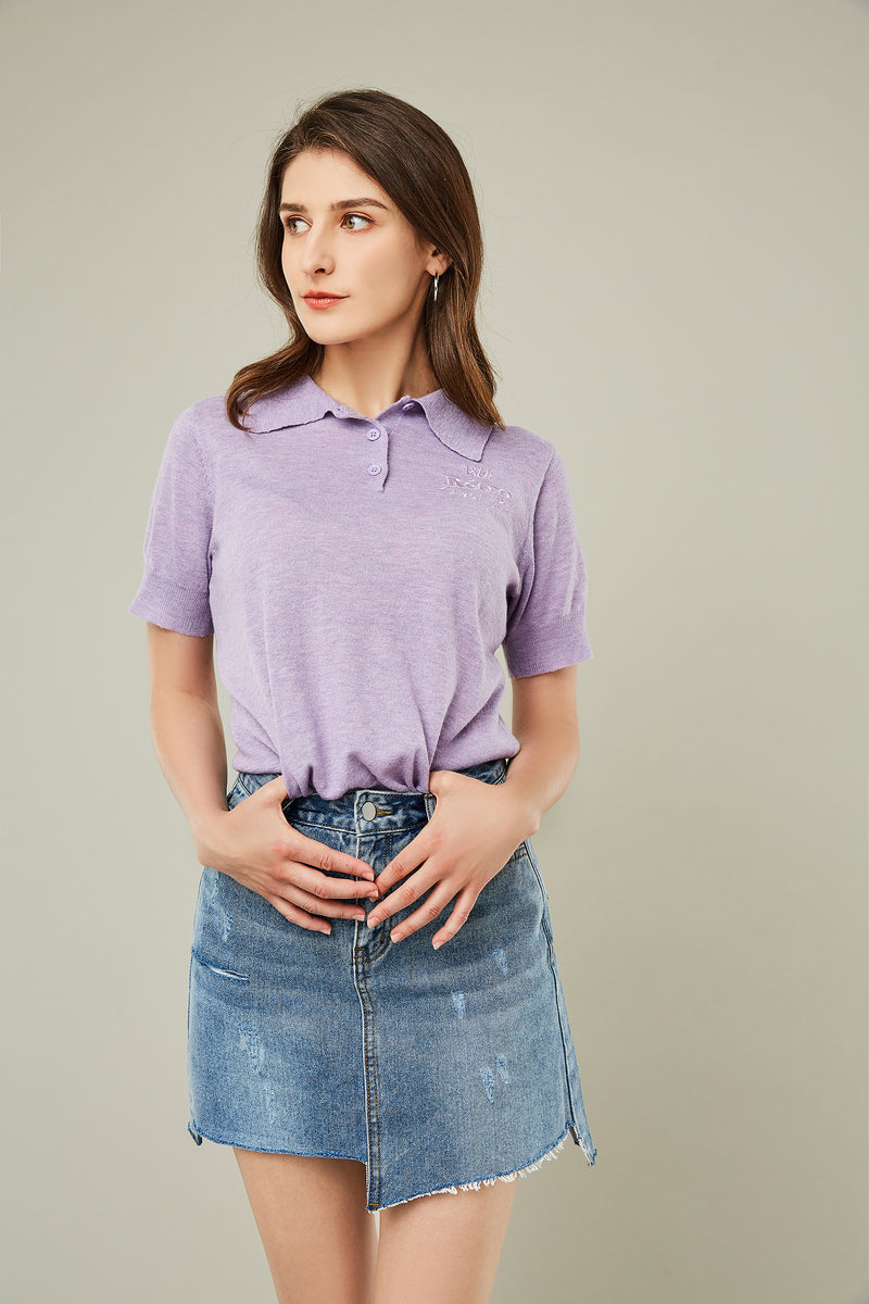 Retro Embroidered Short-Sleeve Polo Tee