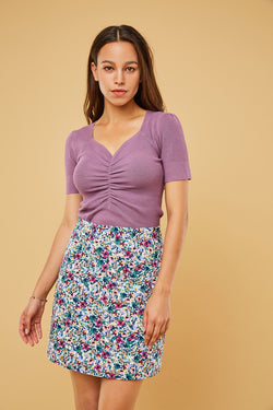 Short-Sleeve Ruched Front Top