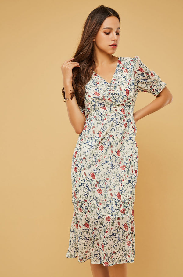 Floral Puff-Sleeve V-Neck Midi Dress