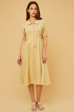 Short-Sleeve Pintuck Shirt Collar Dress