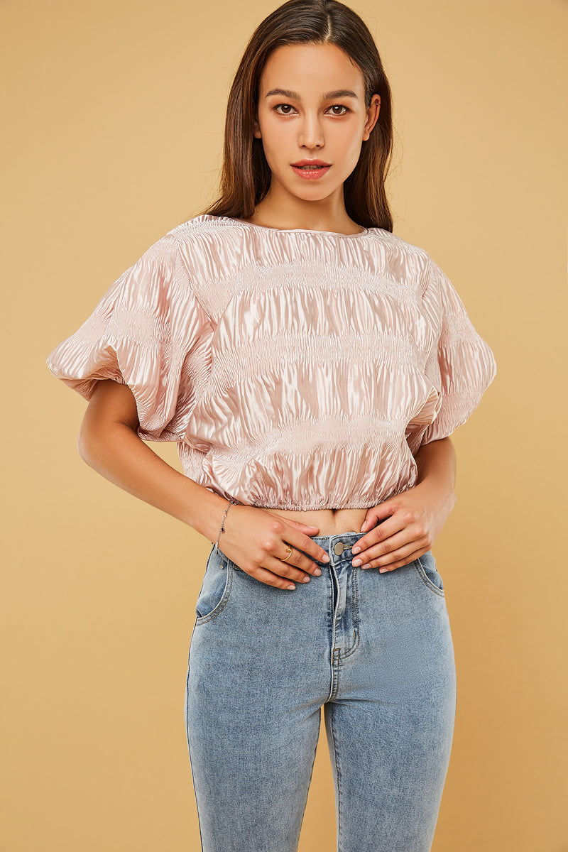 Bubble-Sleeve Pleated Textured Crop Top