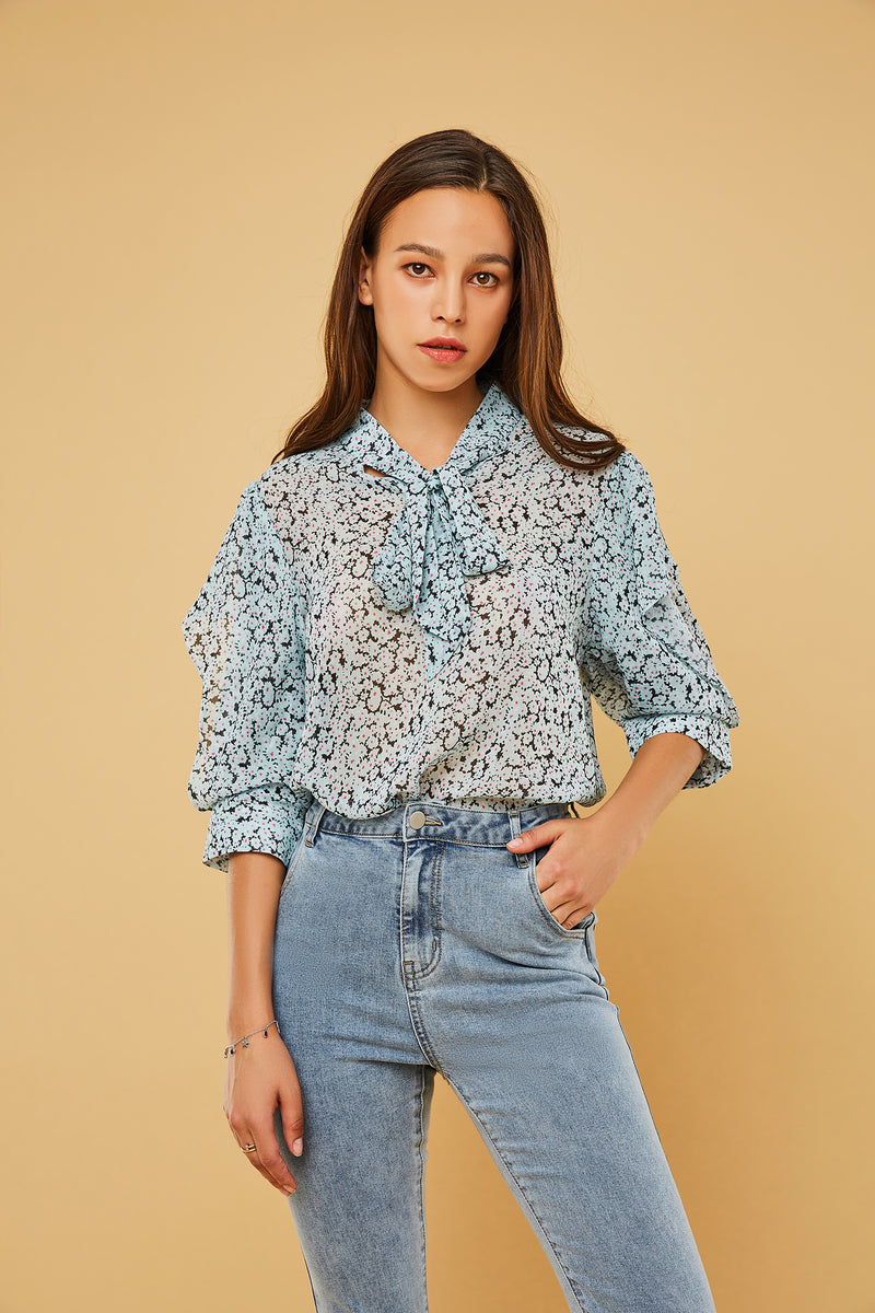 Floral Print Mid-Sleeve Tie-Neck Blouse
