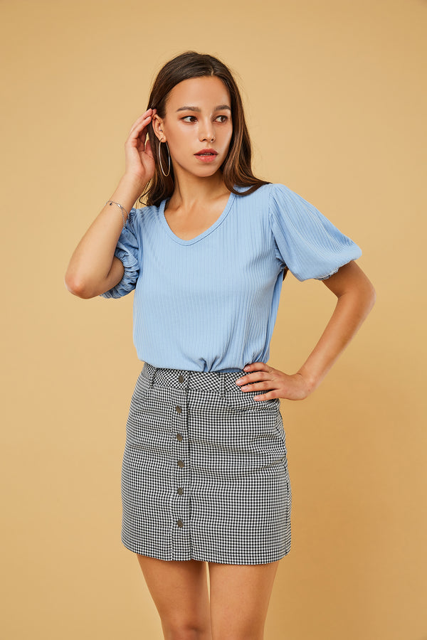 Houndstooth Button-Front Mini A-Line Skirt