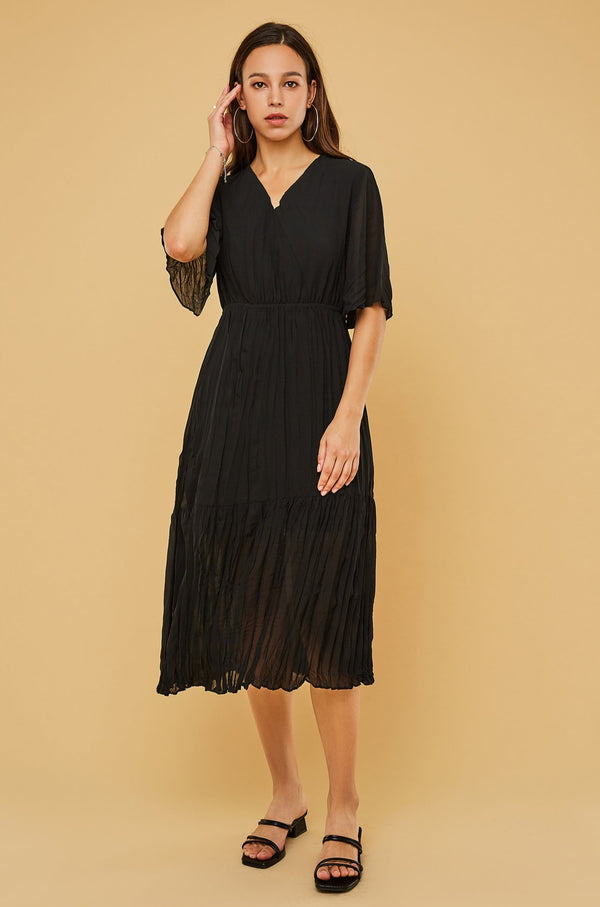V-Neck Pleated Chiffon Dress