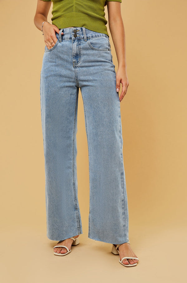 High-Waist Straight-Leg Split-Hem Jeans