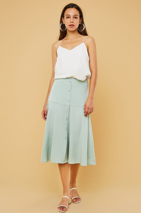 High-Waist Button-Font Midi Skirt