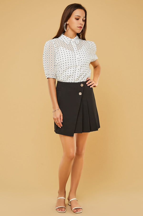Asymmetrical Pleated Mini Skirt