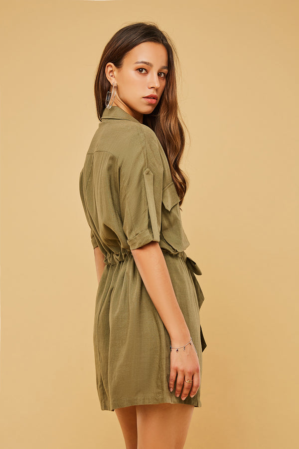 Button-Front Tie-Waist Utility Style Dress