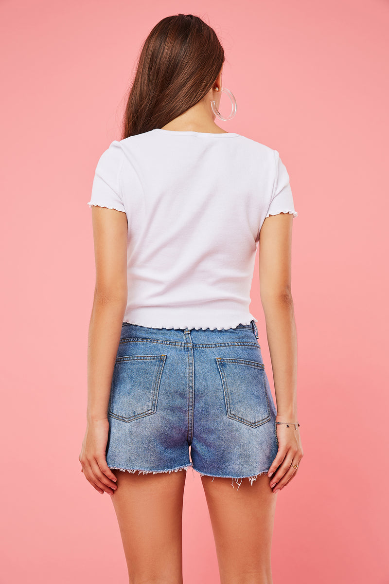 Button-Fly Ripped Jean Shorts