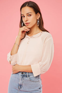 Mid-Sleeve Ruffle Collar Blouse