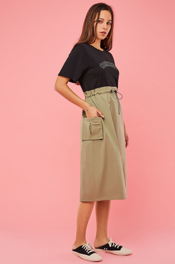 Tee & Paperbag-Waist Skirt 2-In-1 Dress