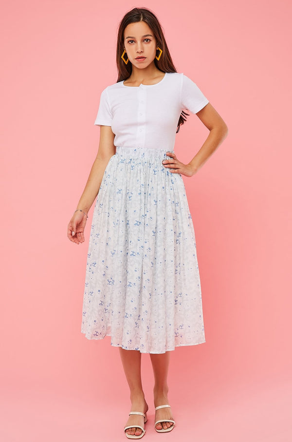 Floral High-Waist Pleated Flare Skirt