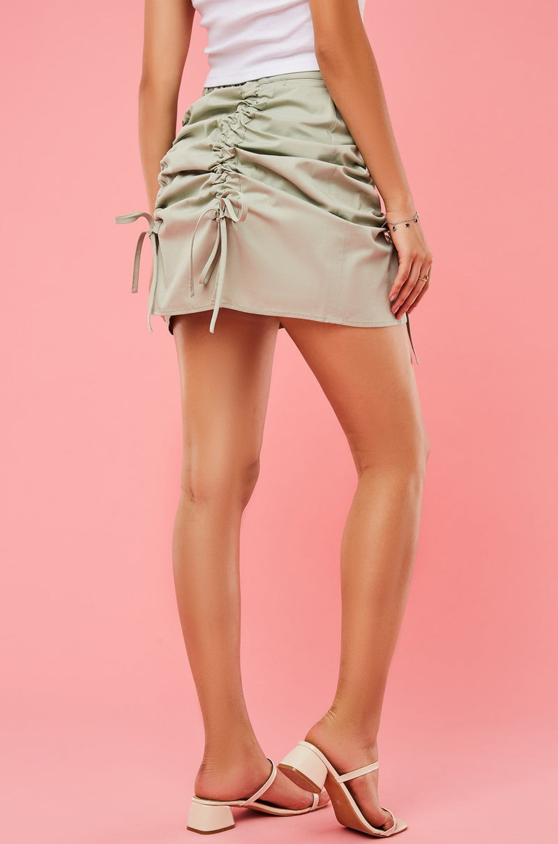 High-Waist Ruched Front A-Line Skirt