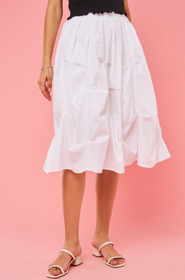 High-Waist Tacked Pleat Midi Flare Skirt