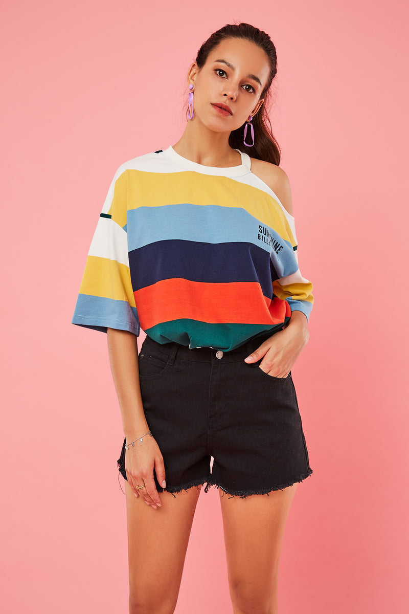 Wide Color Stripe Cutout Shoulder Top