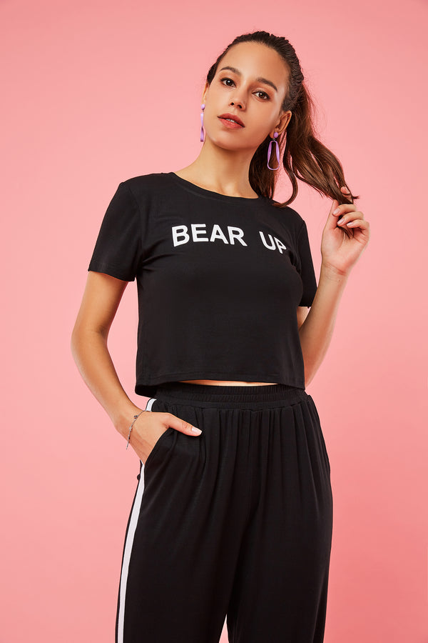 Bear Up Tee & Striped Joggers Two-Piece Set