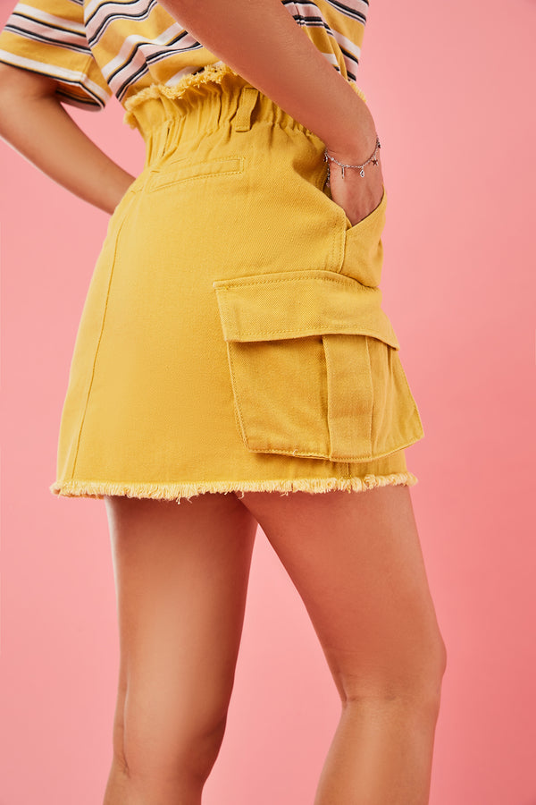 Paperbag-Waist Double Cargo Pocket Mini Skirt