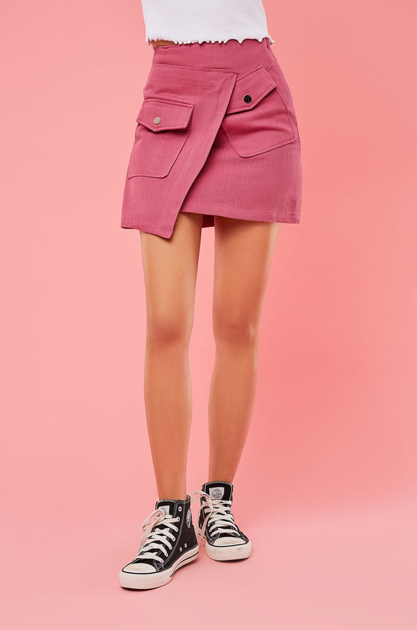 Asymmetrical Hem Front Pocket Mini Skirt