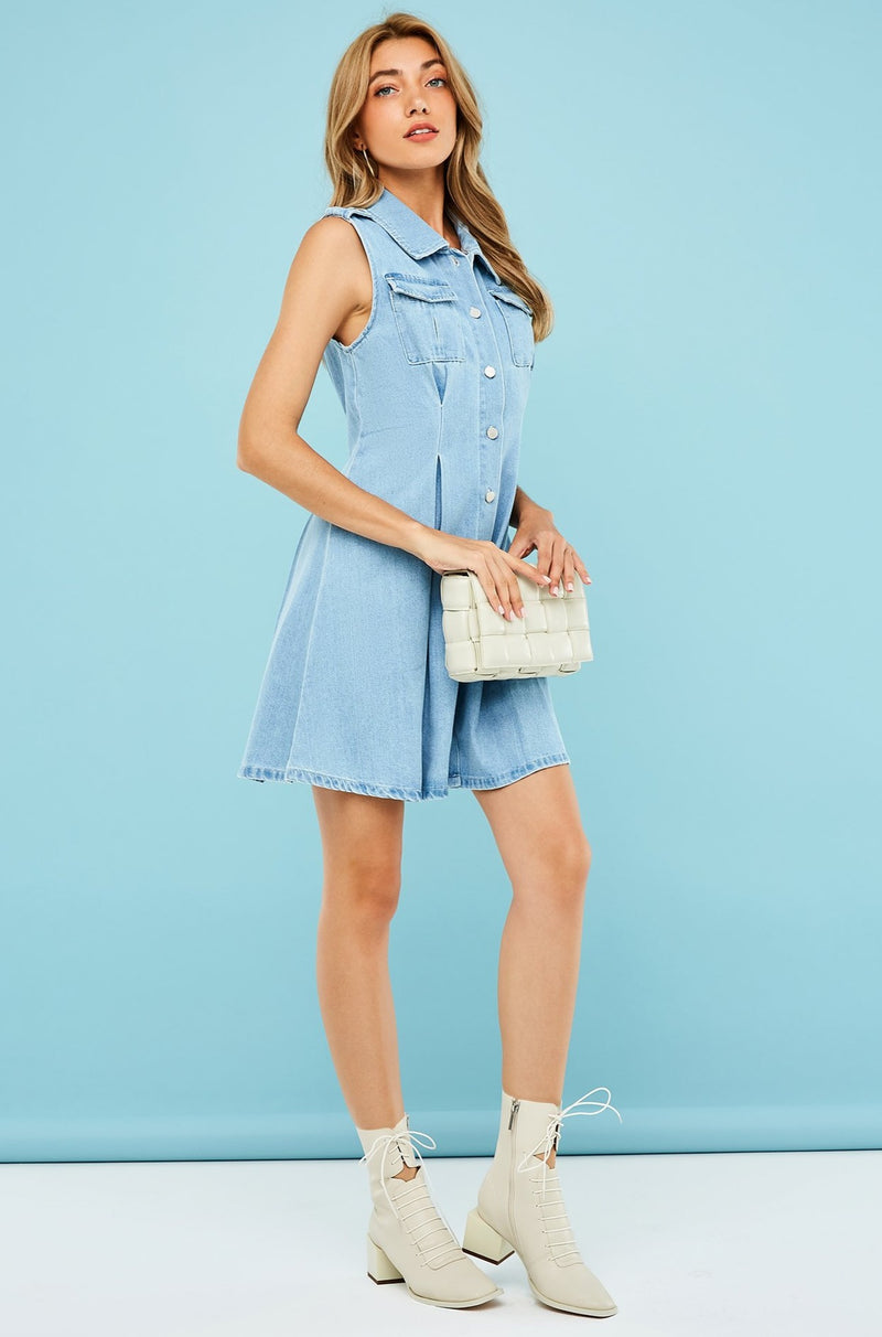 Sleeveless Double Pocket Pleated Waist Shirt Dress