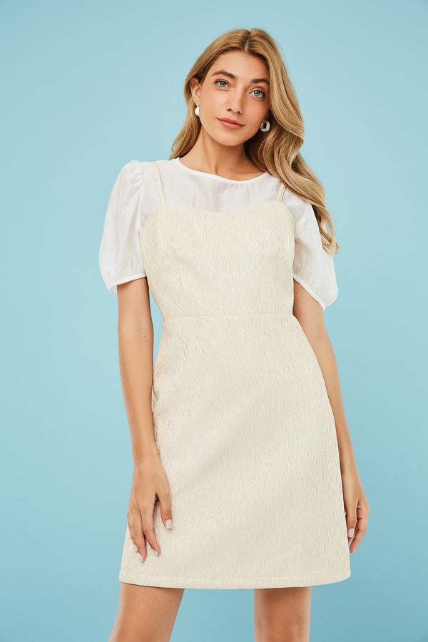 Puff-Sleeve Top & Mini Cami Dress Two-Piece Set