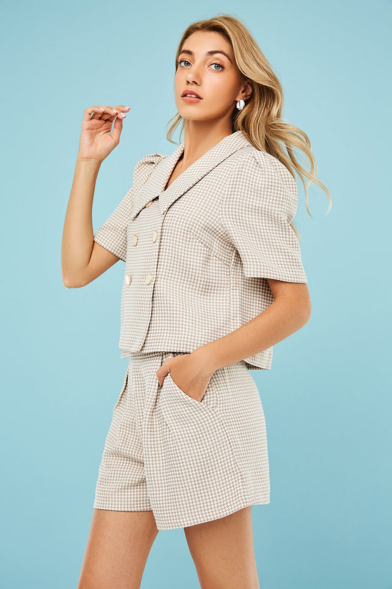 Plaid Double-Breasted Blouse & Short Trouser Two-Piece-Set