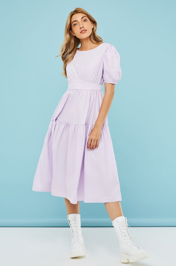 Back-Tie Short Bubble-Sleeve Midi Dress