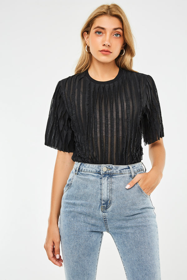 Textured Striped Chiffon Short-Sleeve Top
