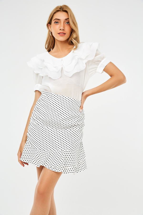 Polka-Dot Ruched Side Mini Skirt
