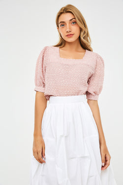 Textured Square-Neck Short Puff-Sleeve Blouse