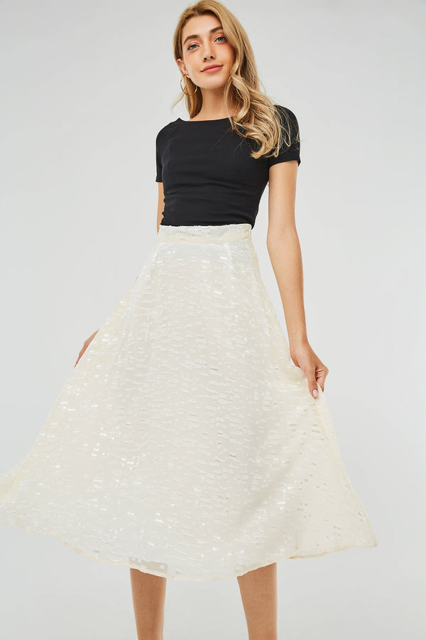 High-Waist Textured Midi A-Line Skirt