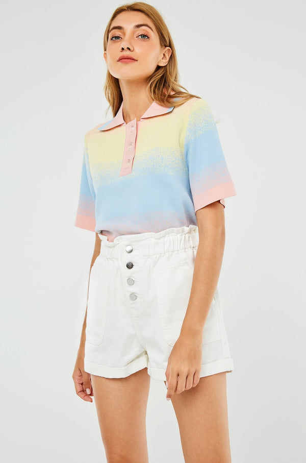 Short-Sleeve Color Gradient Polo Shirt