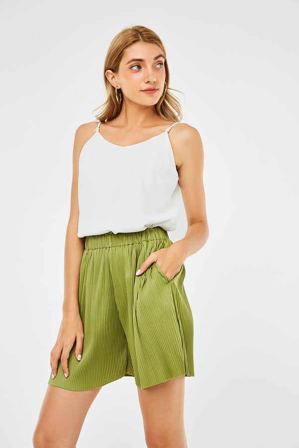 Pleated Elastic Waistband Shorts