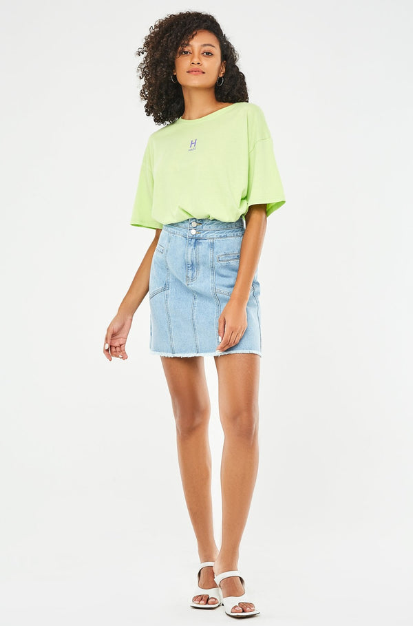 High-Waist Raw Hem Denim A-Line Skirt