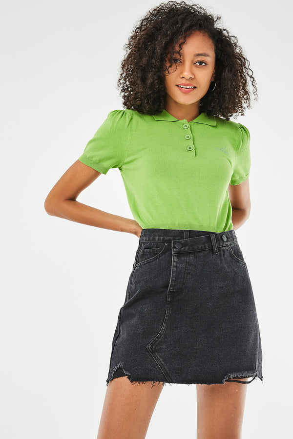 High-Waist Asymmetrical Placket Mini Denim Skirt