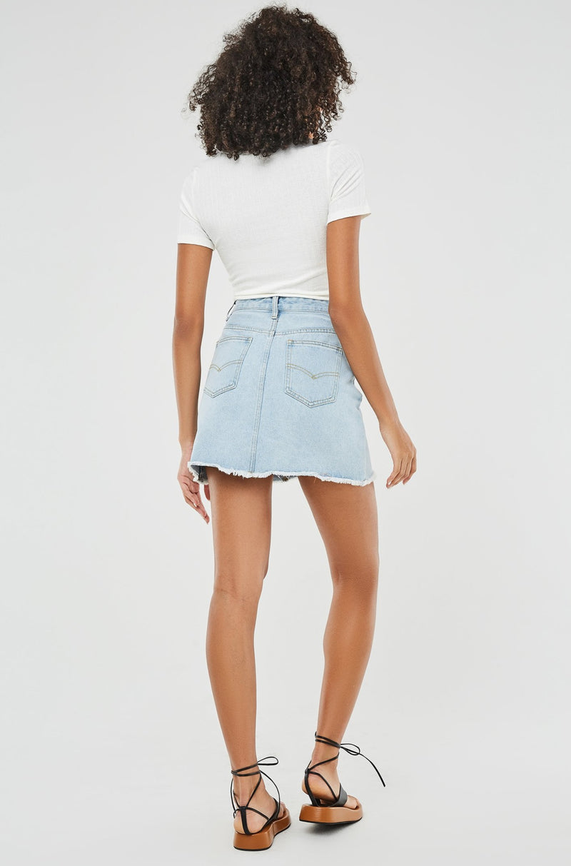 Color Band Asymmetrical Fly Front Denim Mini Skirt
