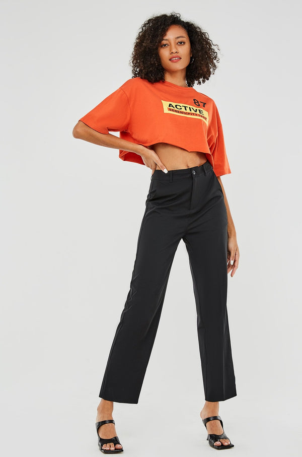 Loose-Fit Straight-Leg Slit Hem Trouser