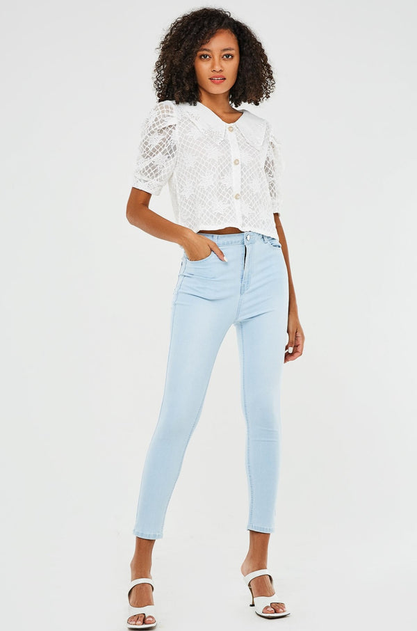 High-Waist Cropped Skinny Jeans