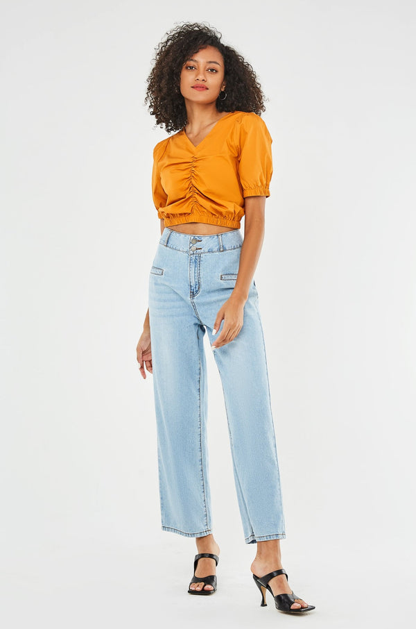 High-Waist Double Front Pocket Straight-Leg Jeans