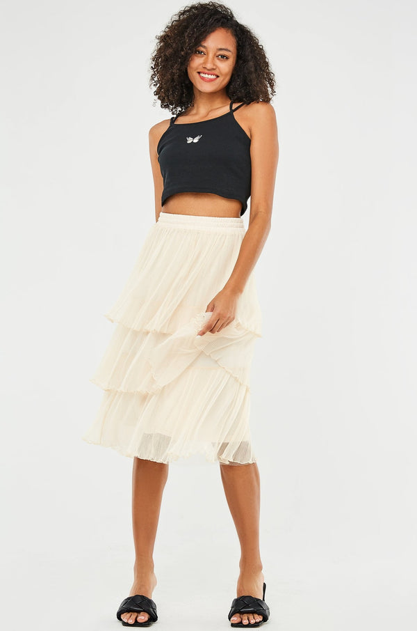 Flowy Mesh Tiered Midi Skirt
