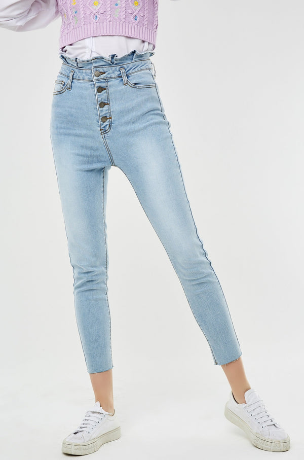 Paper Bag Waist Button-Front Skinny Cropped Jeans